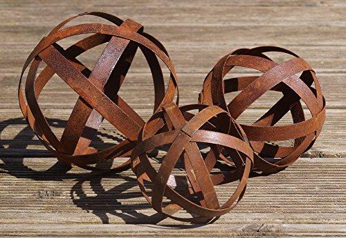 3 Stück Rostkugeln Gartenkugel Set Edelrost Design (Braun 3)