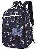 Mädchen Rucksack Blumen Schulrucksack Daypack Damen Teenager Reise Schultasche Laptop Backpack für Mädchen Schule (Schwarz C1)