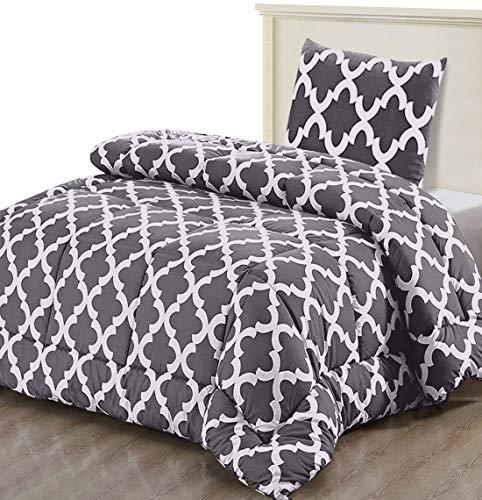 Utopia Bedding Bettdecke-Set - Sommerdecke mit Kissenbezug - Leichte Bettdecke (540g Füllung) - (135 x 200 cm, Grau)