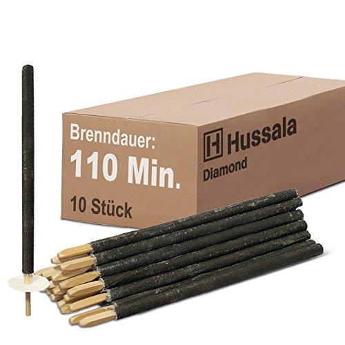 Hussala - Diamond Wachsfackeln Brennzeit 110 min Garten-Fackeln [10 Stück]