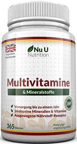 Vitamine & Mineralien - Männer & Frauen - 24 Multivitamine & Mineralstoffe in einer Tablette - Versorgung für bis zu 1 Jahr - für Vegetarier geeignet 365 Tabletten Nahrungsergänzungsm