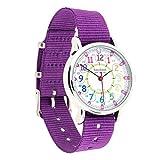 EasyRead Time Teacher Kinderuhr, 12- & 24- Stunden Uhrzeit, Regenbogenfarben, Violettes Armband