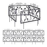 12er Beetzaun Set GOTH, nostalgische Beetbegrenzung, Beeteinfassung 9 m zum Stecken, 12 Zaunelemente mit Blatt Ornamenten