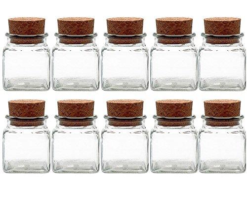 Gewürzgläser Set mit Press-korken | 10 teilig | Füllmenge 120 ml | Quadratisch Hochwertiges Glas | Glasdose Glasgefäß ideal für Salz Pfeffer Sonnenblumenkerne kürbiskerne Kandis Bonbons Korkengläser