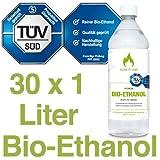 30 x 1L Bioethanol 96,6% - 30 Liter in 1L Flaschen zum handlichen & sicheren Gebrauch-TÜV geprüfte Reinheit, Qualität, Sicherheit & nachhaltige Herstellung - Made in Germany 2,19 EUR/L. !!!
