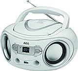 AEG SR 4374 Stereoradio mit CD inklusiv USB-Port, AUX-IN, LCD-Display weiß