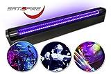 Schwarzlicht LED-UV-Röhre 60cm Komplettset   10W High Power   Lange Lebensdauer (ca. 30.000 Stunden)   Bruchsicher   wechselbare UV Röhre   Für Schwarzlichtpartys und Blacklight Veranstaltungen   SATISFIRE