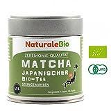 Matcha-Tee-Pulver-Bio [ Ceremonial Grade ] Original Green Tea aus Japan | Grüntee-Pulver Matcha Zeremonie-Qualität | Tee hergestellt in Japan Uji, Kyoto | Ideal zum Trinken, Kochen und in der Latte | 30 g Dose | NATURALEBIO