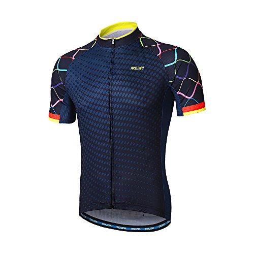 Arsuxeo Herren Radtrikot Kurzarm Mountainbike Shirt MTB Top Reißverschlusstaschen reflektierend, Herren, Z845, US XL