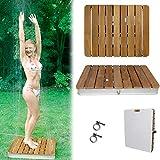 @tec Gartendusche Aussendusche aus massivem Teak-Holz, Mobile Bodendusche Campingdusche, Sauna- & Pool-Dusche mit Bodenplatte für den Garten, Outdoor Shower - eckig 70x55cm