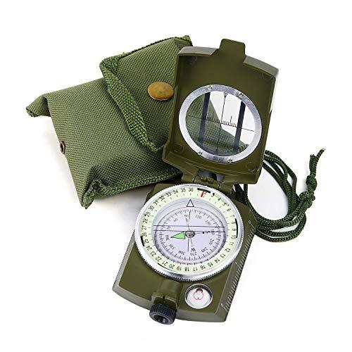 Sportneer Militär Marschkompass, Professioneller Taschenkompass Peilkompass Kompass Compass mit Tragschlaufe für Jagd Wandern und Aktivitäten Camping im Freien, Wasserfest und Stoßfest