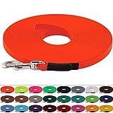 LENNIE BioThane Schleppleine 13 mm breit, 25 Farben/Neon Orange, 1-30 Meter / 5 m lang, genäht