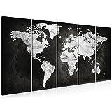 decomonkey | Bilder Weltkarte 200x80 cm 5 Teilig | Leinwandbilder Weltkarte | Vlies Leinwand | WandBilder Weltkarte | Wand | Bild auf Leinwand | Wandbild | Kunstdruck | Wanddeko Welt Karte Kontinente Landkarte DKA0105a5M