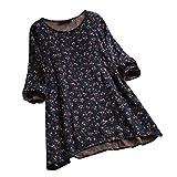 VEMOW Herbst Frühling Sommer Elegante Damen Frauen Stehkragen Langarm Casual Täglichen Party Strand Urlaub Lose Tunika Tops T-Shirt Bluse(Y3-Marine, EU-44/CN-XL)