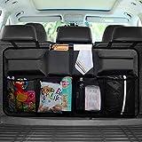 Auto Kofferraum Organizer, Auto Rücksitz Aufbewahrungstasche/Autositztasche/Netz-Taschen Organizer mit Oxford für SUV LKW Van, Rückenlehnenschutz Zubehör mit magischem AufkleberSchwarz