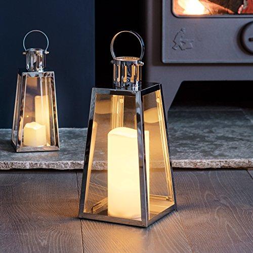 Silberne Edelstahl LED Laterne LED Kerze 28cm Timer Lights4fun