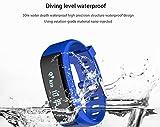 Smart Watch Touchscreen Pulsmesser Blutdruckmessgerät Gesundheit Sport Schrittzähler Alarmdruck Bluetooth LED HD Display Blutdruckmessgerät (Color : Blue)