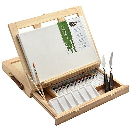 19tlg Artina Malset Milano Malkoffer Set mit integrierter Tischstaffelei & Keilrahmen Acrylfarbe Pinsel Palette Spachtel