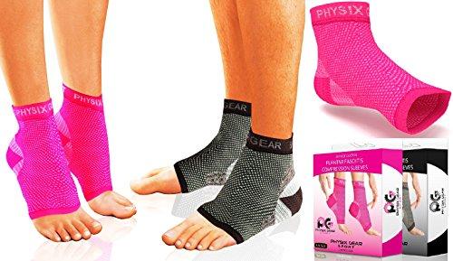 Plantarfasziitis Kompressionsmanschette für Männer & Frauen - Beste Schmerzlinderung, Therapiestrumpf - Fersenschiene - Knöchelmanschette – Fördert Durchblutung - # 1 Podologen Socken -PAAR