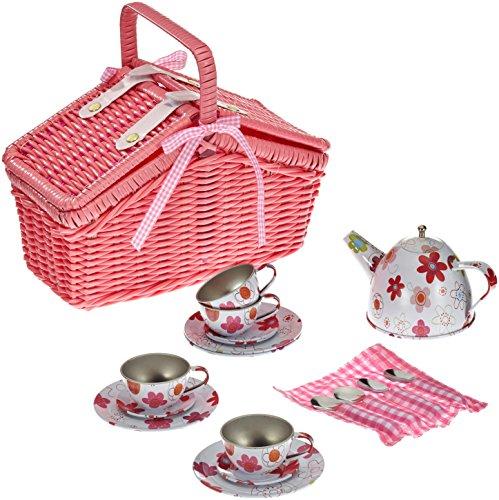 Picknickkorb 'Blechgeschirr' aus Holz mit Zubehör, Kindergeschirrset 20-tlg., Geschirrset / Kinderküchen-Zubehör ab 3 Jahre