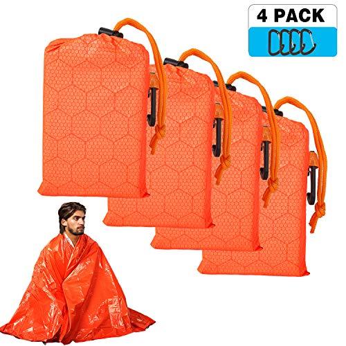 Shayson Rettungsdecke für Erste Hilfe, Multifunktional 4 Stück Rettungsfolie für Wandern, Camping, Skifahren, Klettern, Erste Hilfe