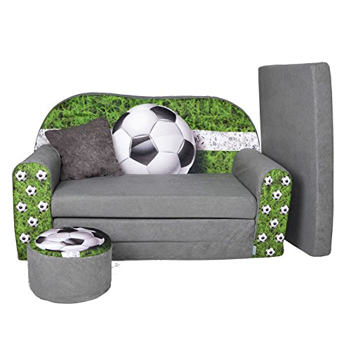 Kindersofa Kindercouch Aufklappen Bettfunktion + Hocker W319 Viele Muster (Football)