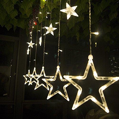 Salcar Lichterkette mit LED Kugel 12 Sterne 138 Leuchtioden Lichtervorhang Sternenvorhang 8 Modi Innen & Außenlichterkette Wasserdicht Dekoration für Weihnachten Deko Party Festen, Kupfer