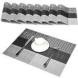 Platzdeckchen (8er Set) - GODTEN Abwaschbar Tischsets - Hitzebeständig und Abgrifffeste Waschbare - Grau Platzsets Kunststoff für Küche Speisetisch - 30x45cm (8er, A3)