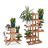 2x Pflanzentreppe im Set, Blumentreppe, Blumenregal, Pflanzenregal, Etagere, Blumenständer, Mehrstöckig, 5 Böden, Holz, hellbraun