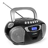 Blaupunkt Boombox B 110 PLL, Kinder CD Player, Hörbuch Funktion und USB mit Kassettenplayer, tragbares CD-Radio, Aux In, Kopfhöreranschluss, PLL UKW Tuner (Schwarz)