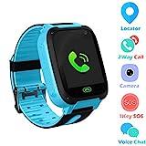 Jaybest Kid Smart Watch SOS Tracker, 1.44' Touch LCD Kinder Smartwatch mit Kamera Taschenlampen Anti-Lost Voice Chat für Jungen Mädchen Geburtstagsgeschenke(Blue)