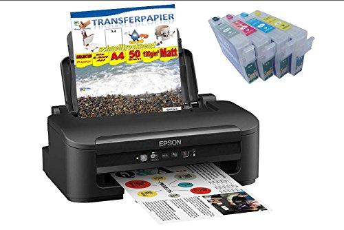 Homeeinsteigerpaket für Sublimationsdruck Nummer 11 - DIN A4 - Epson Inkjet Drucker inkl. 4 Sublimationspatronen Plus 100Blatt Transferpapier