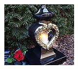 GRABLAMPE Herz incl. LED-Grablicht 28,0cm GRABSCHMUCK GRABLATERNE GRABLEUCHTE Laterne Kerze LICHT Friedhof Garten TROSTHERZ