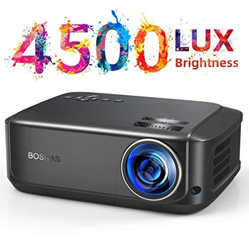Heimkino-Beamer 50000 Stunden unterstützt 1080P Full HD, 4500 Lumen LCD LED Video Beamer für Film Unterhaltung Spiele Reisen, unterstützt HDMI VGA AV USB Micro SD