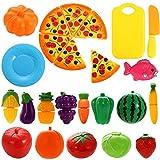 YW-WINN 24 PCS Spiel Essen Set für Kinder Kunststoff Schneiden Pizza Obst und Gemüse vorgeben spielen Set