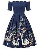 Belle Poque 50s Vintage Retro Rockabilly Kleid Blumenmuster Petticoat Kleid Knielang Partykleid Größe M BP734-2