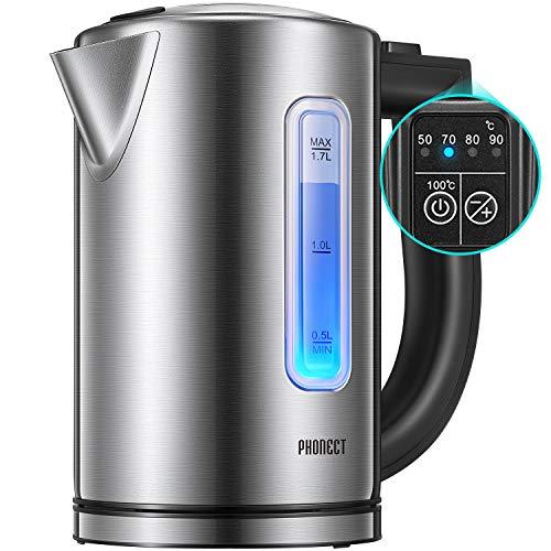 Wasserkocher mit Temperatureinstellung, 1,7 Liter Wasserkocher Edelstahl mit Trockengehschutz, LED Beleuchtung Farbwechsel ändert Farbe je eingestellter Temperatur, BPA-Frei, 2200W