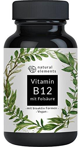Vitamin B12 - 1000 mcg - 180 Tabletten - Einführungspreis - Beide bio-aktiven + Depot B12-Form + 400 mcg Folsäure (Quatrefolic die aktive und höchst bioverfügbare Folat-Form) - Laborgeprüft, vegan, hochdosiert und hergestellt in Deutschland