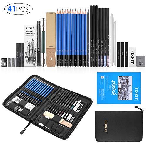 FIXKIT 40/41pcs Professionelle Skizzierstifte Set, Zeichnung Bleistifte Werkzeug, geeignet für Künstler, Student, Lehrer oder Anfänger (Mit Skizzenbuch)