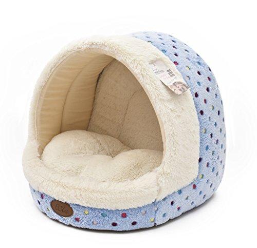 Tofern Hundebett Hundehöhle Katzenbett Weich Warm Waschbar für Kleine mittelgroße Hunde Katzen, Blau
