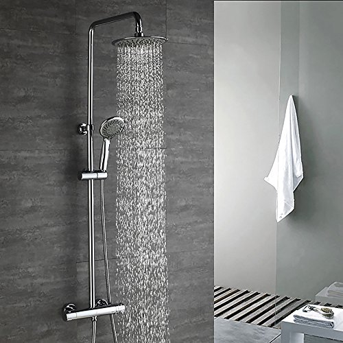 Homelody Chrom Duschsystem Thermostat Duschset Regendusche mit Drei-Funktionen Duscharmatur Duschsäule inkl.Handbrause Überkopfbrause Duschstange