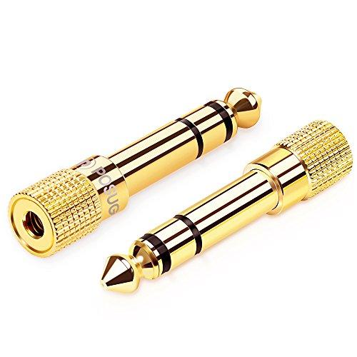 6.35mm Klinkenstecker auf 3.5mm Klinken Buchse,Posugear 2 Stück AUX Audio Stereo Adapter Kopfhörer oder Lautsprecher - Vergoldet