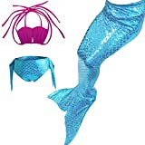 Das Beste Mädchen Meerjungfrau Bikini Kostüm Schwimmanzug Badeanzüge Tankini Muschelbikini Bademode Badeanzüge Meerjungfrauenschwanz Schwimmen Baden, 130, Farbe: heiß Rosa+Blau