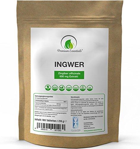Ingwer hochdosiert, 180 Tabletten (vegan), 600mg Ingwerwurzel-Extrakt aus 12.000mg Pulver je Tablette, Vorrat für 6 Monate
