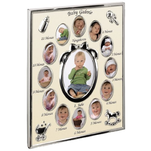 Hama Portrait Bilderrahmen Mein erstes Jahr Baby Galerie für 13 Fotos (Fotogröße 9 x 13 cm, Rahmen 24 x 29 cm) champagner