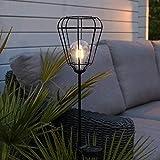 Festliche Lichter Solarbetriebener Gartenstecker mit LED-Leuchte für den Außenbereich, dekorative Retro-Beleuchtung, Schwarz