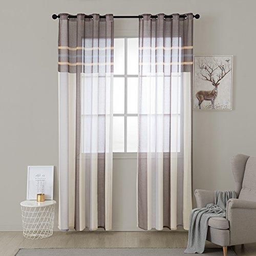 MIULEE Voile Vorhang Transparente Gardine aus Voile mit Ösen Schlaufenschal Ösenschals Transparent Fensterschal Wohnzimmer Schlafzimmer 2er Set 140 * 175 cm Weiß + Hellbraun