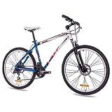 KCP 26' Mountainbike Fahrrad Rad Pulse ALU 24 Gang blau Weiss - 66,0 (26 Zoll)