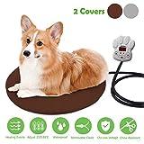 FOCHEA 15W Heizmatte für Haustiere Rund Wärmematte für Hunde und Katzen Heizdecke Heizkissen mit 7 einstellbaren Temperaturen und Zwei herausnehmbaren Fleece-Hüllen