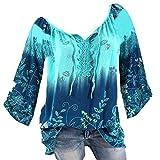 Damen Langarm Bluse, Frashing Langarmhemd mit V-Ausschnitt Drucken Lässiges T-Shirt Mädchen Spitzen Rundhals-Shirt Bluse mit Stickerei Freizeithemd Große Größe, 9 Farben